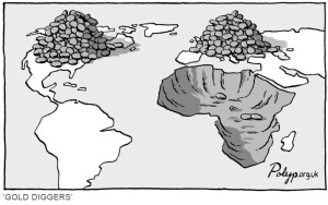 "Manchester, UK-based cartoonist P.J. Polyp's ""Gold Diggers"" illustrates the concept of primitive accumulation nicely."