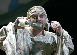"Caliban (Todd Scofield) in Folger Theatre's production of Shakespeare's The Tempest in 2007. A rebel slave born of a witch, Caliban (anagram for ""cannibal""?), personified the fears of Europe's capitalist elite in the transition from feudalism to capitalism."