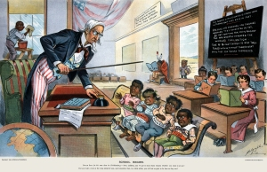 "Caricature showing Uncle Sam lecturing four children labelled Philippines, Hawaii, Porto Rico [sic] and Cuba in front of children holding books labelled with various U.S. states. The caption reads: ""School Begins. Uncle Sam (to his new class in Civilization): Now, children, you've got to learn these lessons whether you want to or not! But just take a look at the class ahead of you, and remember that, in a little while, you will feel as glad to be here as they are!"" Originally published on p. 8-9 of the January 25, 1899 issue of Puck magazine. The blackboard reads: ""The consent of the governed is a good thing in theory, but very rare in fact. — England has governed her colonies whether they consented or not. By not waiting for their consent she has greatly advanced the world's civilization. — The U.S. must govern its new territories with or without their consent until they can govern themselves."" Note the Native American reading a book upside down, the African-American washing the windows, and the Chinese figure outside."